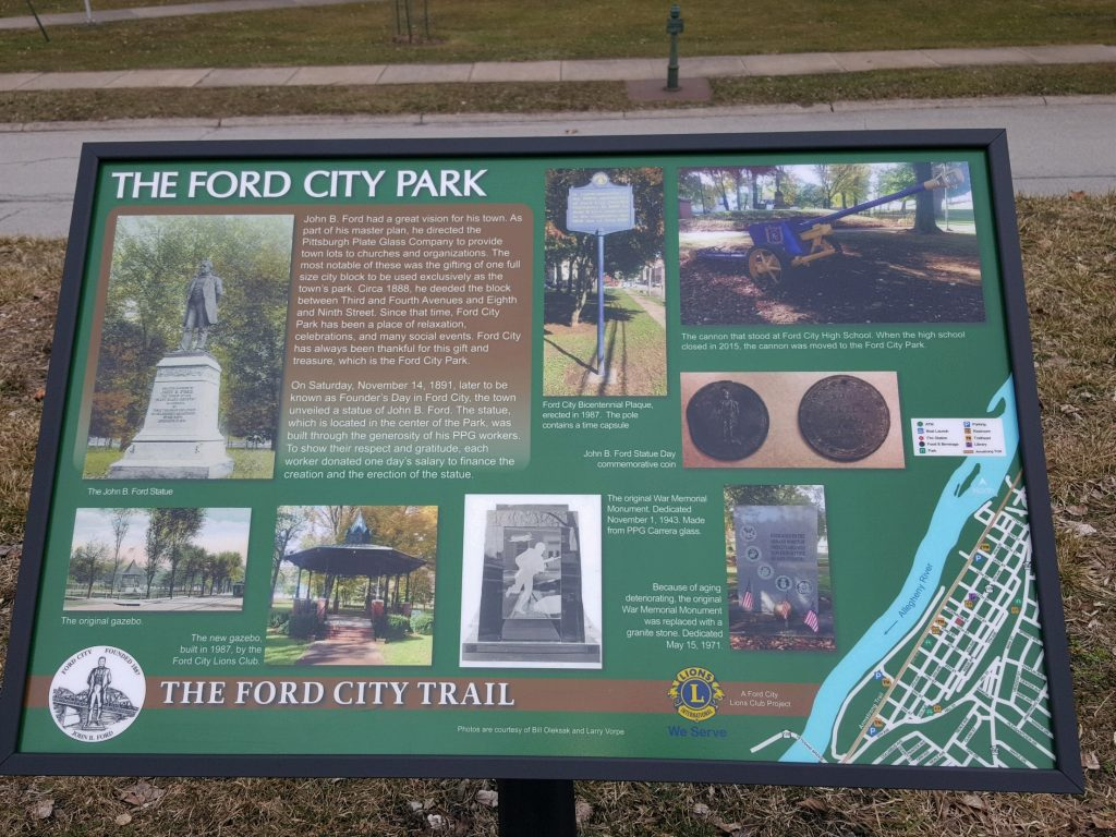 Ford City Park sign in Armstrong county founded by John B Ford for relaxation and social events.
